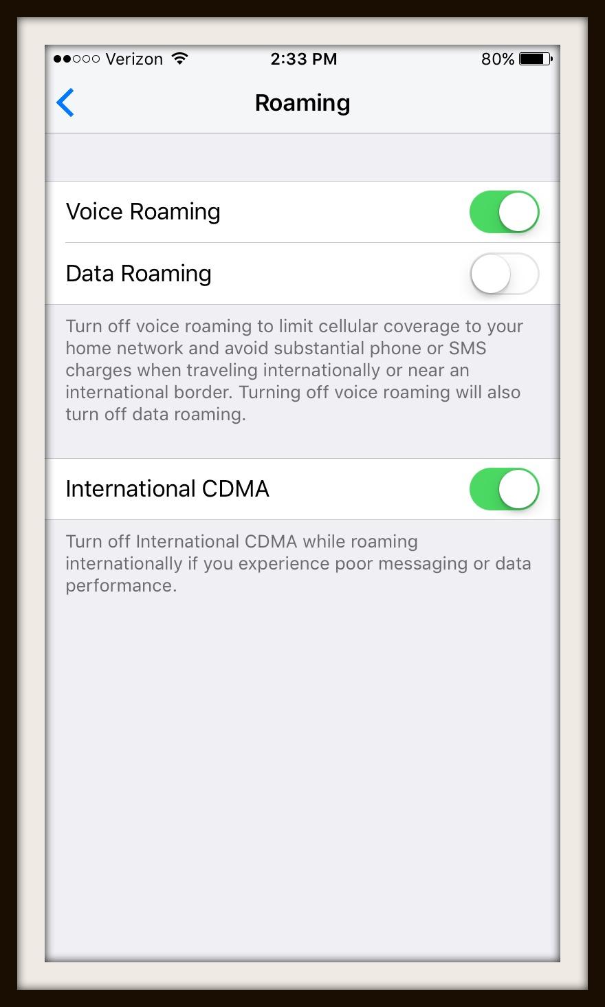 data roaming setting screen