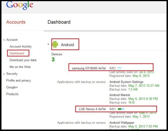 imei android dashboard