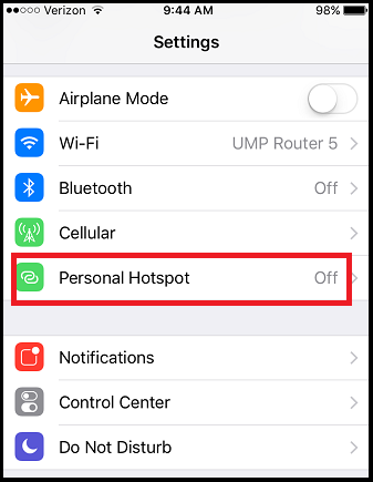 navigate to personal hotspot within the iphone settings