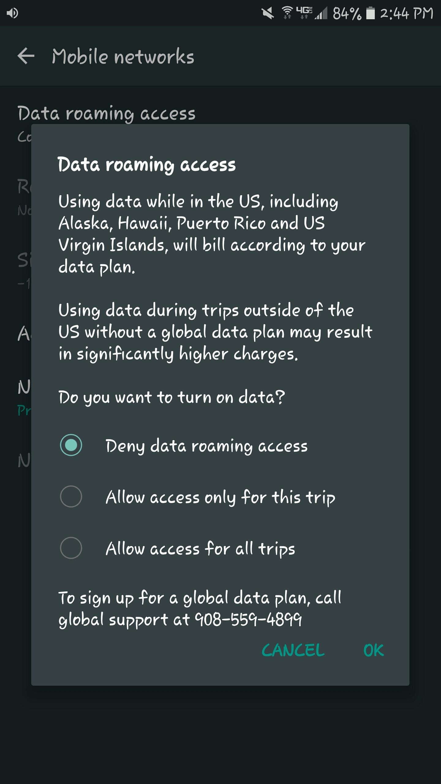 data roaming access screen