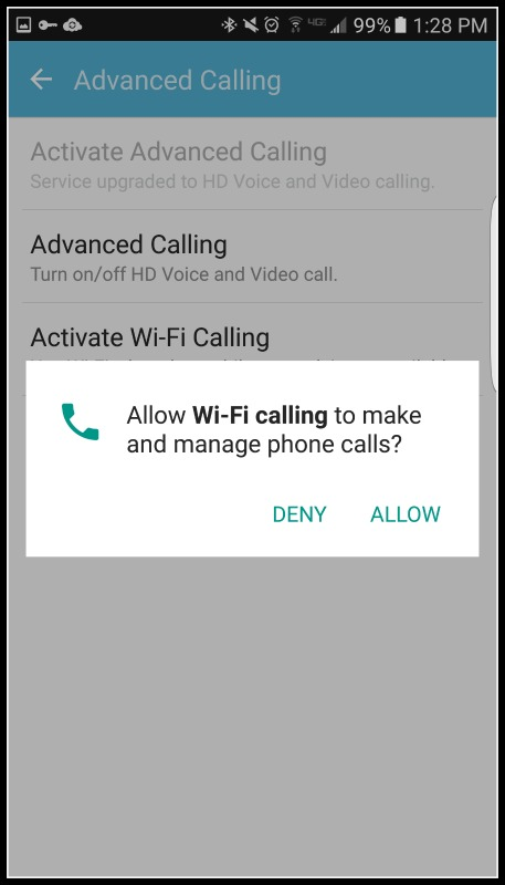 android enable wifi calling