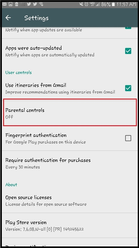 enable parental controls in the settings menu on android
