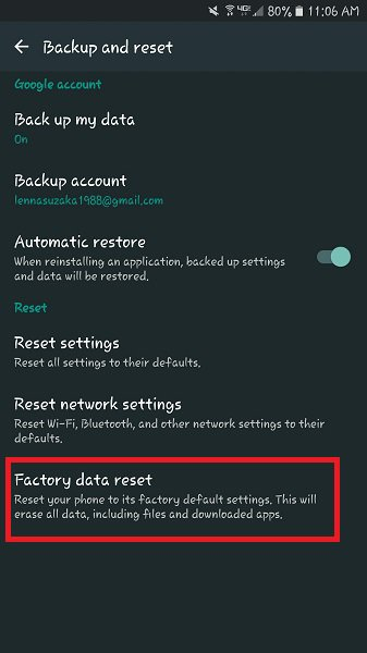 android factory data reset