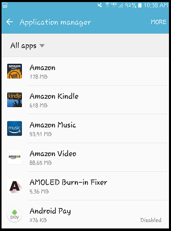 select the android app you want to remove