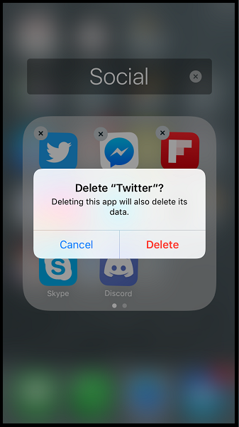 select delete to remove the app from your iphone