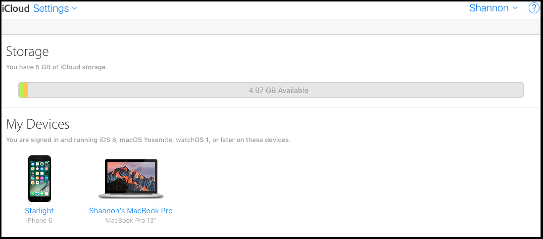 view your icloud devices and data storage