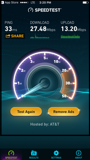 ookla speed test results at&t